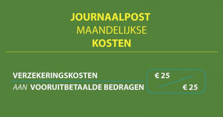 journaalpost maandelijkse kosten