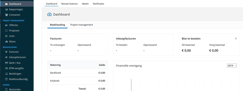 dashboard boekhoudapplicatie